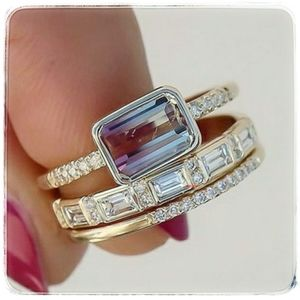 NWT 3 pc 18K Gold Sapphire Ring Set. Size 5